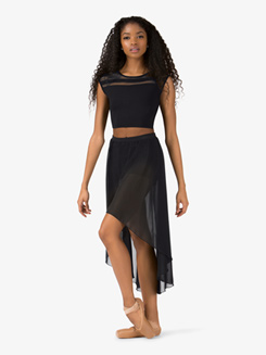 Womens Sheer High-Low Lyrical Skirt