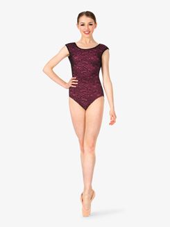 Womens Lace Overlay Short Sleeve Leotard