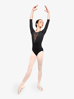 Womens Inspired Deep Mesh Long Sleeve Leotard