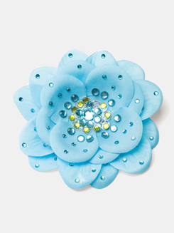 Rhinestone Silk Flower Hair Clip