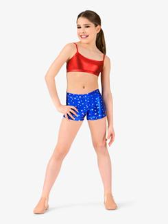 Girls Metallic Stars and Stripes Dance Shorts