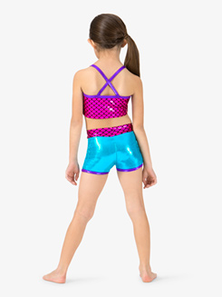 Girls Metallic Mermaid Sequins Dance Shorts