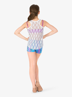 Girls Floral Lace Live Love Dance Dance Tank Top