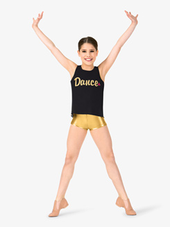 Girls Glitter Dance Text Mesh Back Dance Tank Top