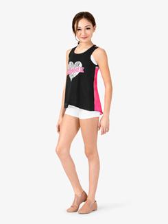 Girls Dance Animal Print Heart Dance Tank Top