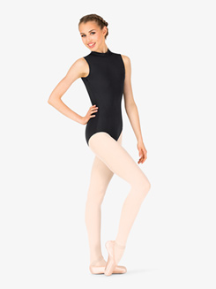 Womens Mock Neck Back Cutout Leotard