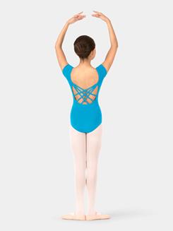 Girls Short Sleeve Triple Crisscross Back Leotard