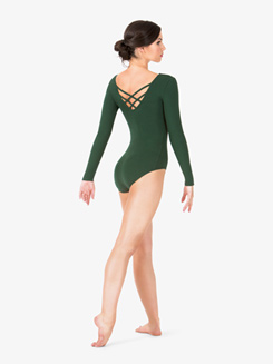 Womens Strappy Back Long Sleeve Leotard