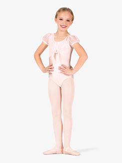 Girls Heart Mesh Tie Front Short Sleeve Leotard