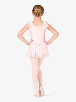 Girls Heart Mesh Gathered V-Front Flutter Sleeve Ballet Dress