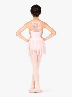 Girls Heart Mesh Mock Wrap Pull-On Ballet Skirt