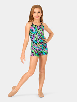 Girls Multi Leopard Print Dance Shorts