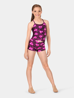 Girls Fire Heart Print Dance Shorts
