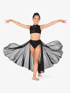 Girls Performance Sheer Twinkle Sequin Mesh High-Low Skirt