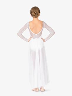Girls Performance Twinkle Sequin Mesh Long Sleeve Dress