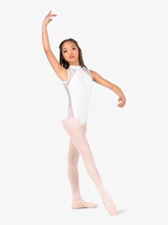 Girls Performance Twinkle Sequin Mesh Mock Neck Leotard