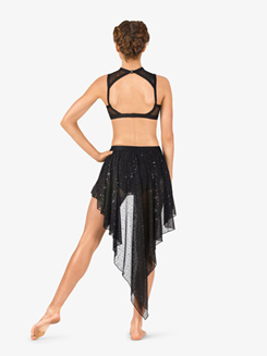 Womens Performance Sheer Twinkle Sequin Mesh Pull-On Skirt