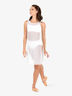 Womens Performance Twinkle Sequin Mesh Sheer Overdress