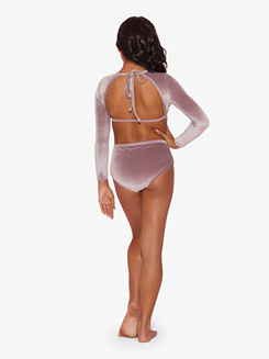 Girls Velvet Dreams Open Back Leotard
