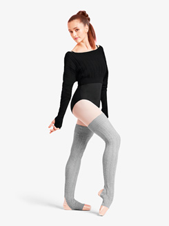 Womens Cable Knit Thigh High Legwarmers