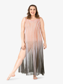 Adult Plus Size Floor-Length Paneled Mesh Dress