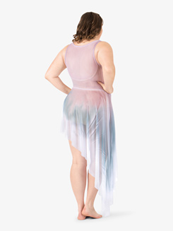 Adult Plus Painted Asymmetrical Side Drape Tank Dress