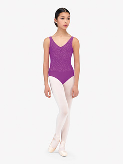 Womens Incas Embossed Detail V-Front Tank Leotard