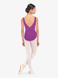 Girls Incas Embossed Detail V-Front Tank Leotard