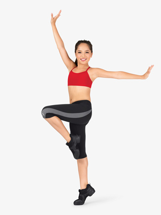 Girls Contrast Insert Workout Leggings - Style No 1186G