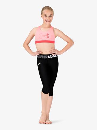 Girls Workout Logo Print Waistband Capri Leggings - Style No 1305644x