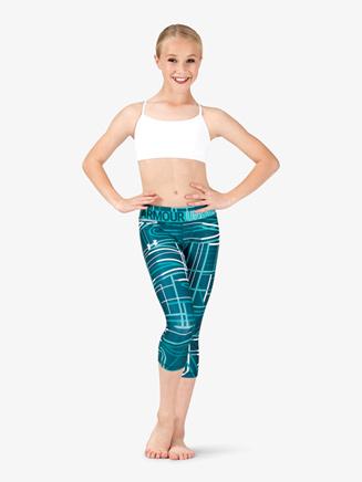 Girls Fitness HeatGear Armour Capri Length Leggings - Style No 1305645x