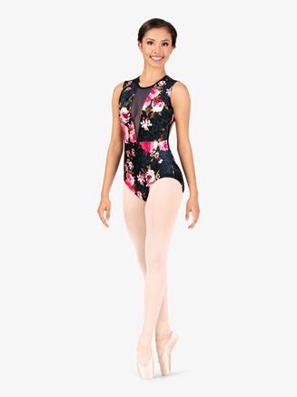"""Womens """"Velvet Blossom"""" Flower Tank Leotard - Style No 18001"""