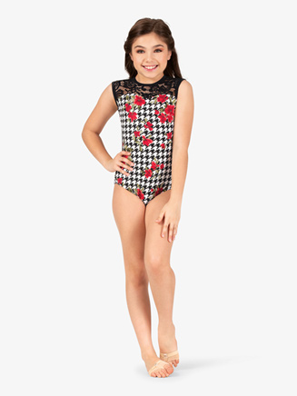 Girls Houndstooth Flower Printed Tank Leotard - Style No 18062C