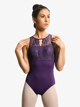 Womens Flower Lace Open Back Tank Leotard - Style No 19110A