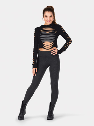 Adult Long Sleeve Shredded Crop Top - Style No 5190