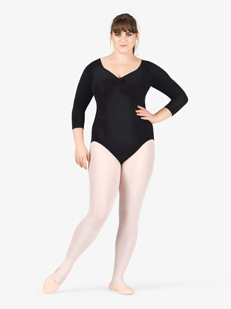 Adult Plus Size 3/4 Sleeve Dance Leotard - Style No 7121W