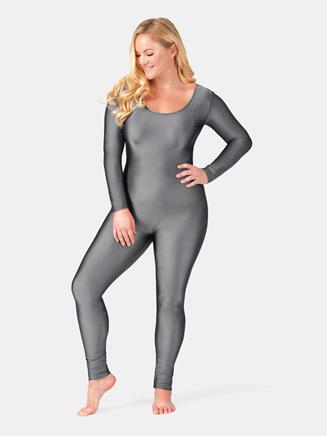 Adult Plus Size Nylon Scoop Neck Long Sleeve Unitard - Style No 811P