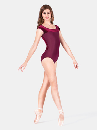 Adult Velvet Two Tone Cap Sleeve Leotard - Style No 87875