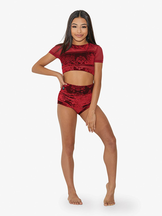 Girls Stamped Velvet High Waist Dance Briefs - Style No AB4342C