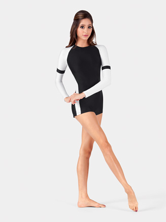 Adult Color Block Long Sleeve Shorty Unitard - Style No BT5093