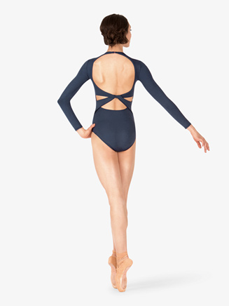 Womens Twist Back Compression Long Sleeve Leotard - Style No BT5177