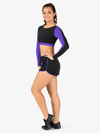 Womens Plus Size Team Two-Tone Dolphin Hem Shorts - Style No BT5219P