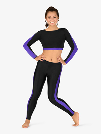 Womens Team Contrast Stripe Compression Leggings - Style No BT5220
