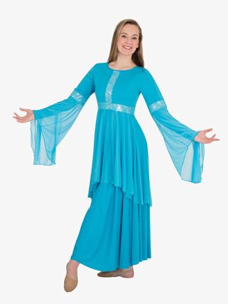 Kids Worship Lace Accented Metallic Tunic - Style No BW0622