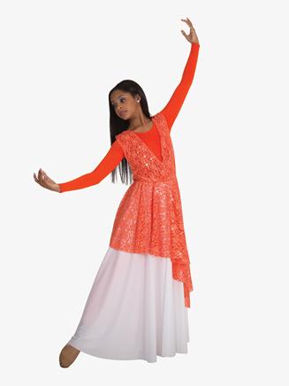 Kids Worship Asymmetrical Lace Overlay - Style No BW0626