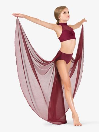 Girls Performance Sheer Mesh Half Skirt - Style No BW1116