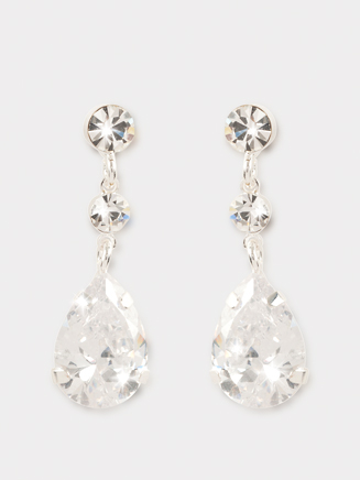 Crystal 3-Stone Drop Earrings - Style No CDE