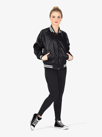 Womens Zip Up Satin Dance Bomber Jacket - Style No D3048