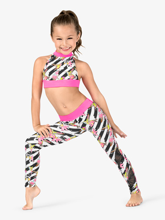 Girls Flower Stripe Print Dance Leggings - Style No DB300C