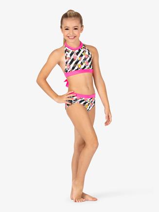Girls Flower Stripe Print Dance Briefs - Style No DB302C